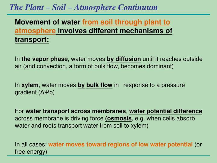 The Plant – Soil – Atmosphere Continuum