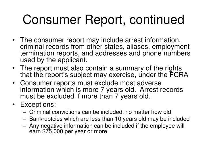 Consumer Report, continued