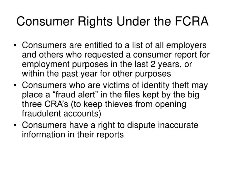 Consumer Rights Under the FCRA
