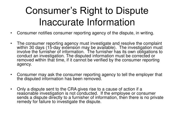 Consumer's Right to Dispute Inaccurate Information