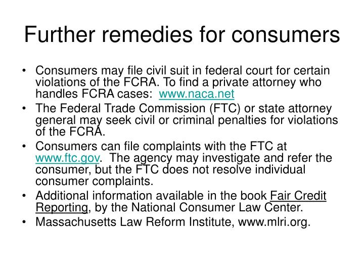 Further remedies for consumers