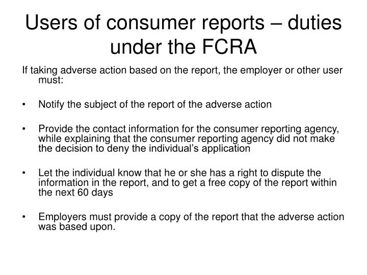 Users of consumer reports – duties under the FCRA