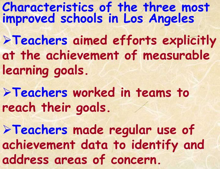 Characteristics of the three most improved schools in Los Angeles