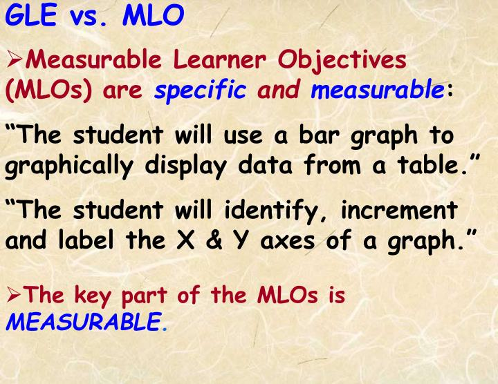 Measurable Learner Objectives (MLOs) are