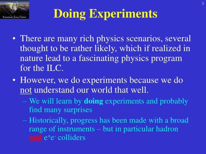 Doing experiments