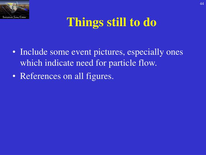 Things still to do