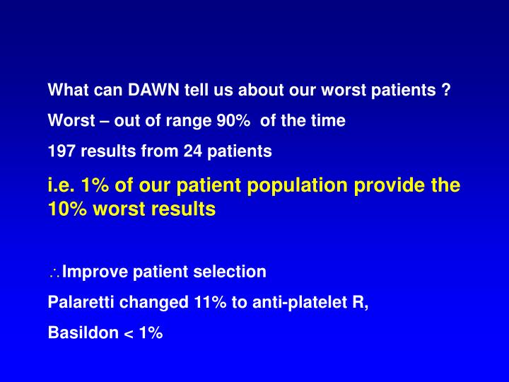 What can DAWN tell us about our worst patients ?