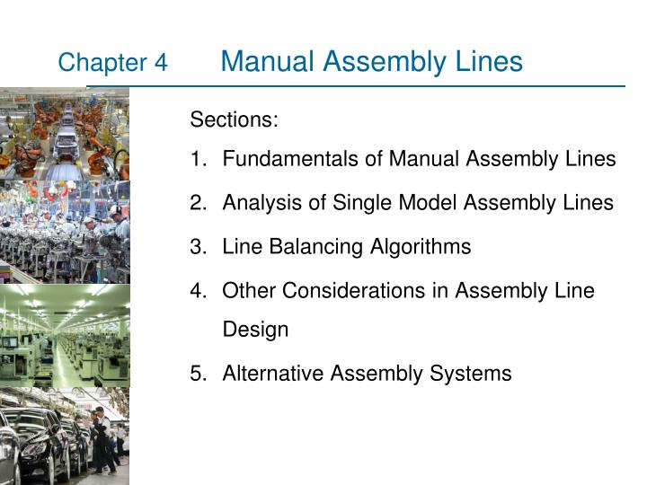 manual assembly lines n.