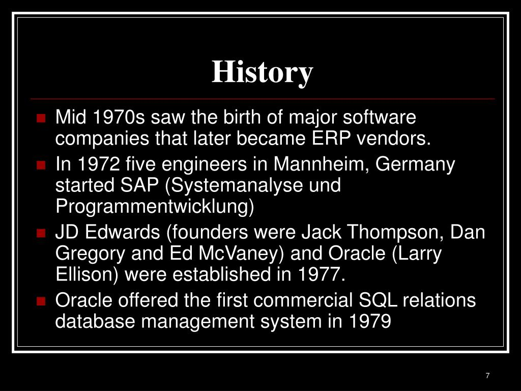 PPT - Enterprise Resource Planning-A Brief History