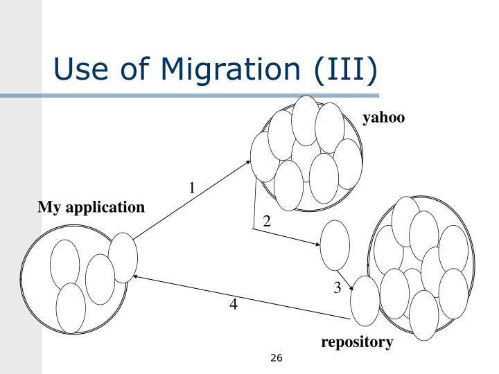Use of Migration (III)