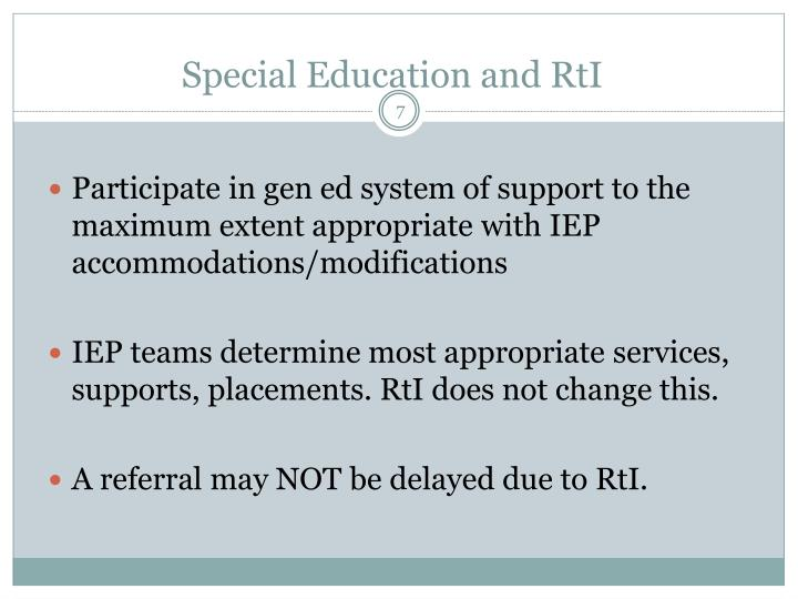 Special Education and RtI