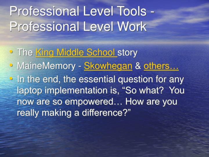 Professional Level Tools - Professional Level Work