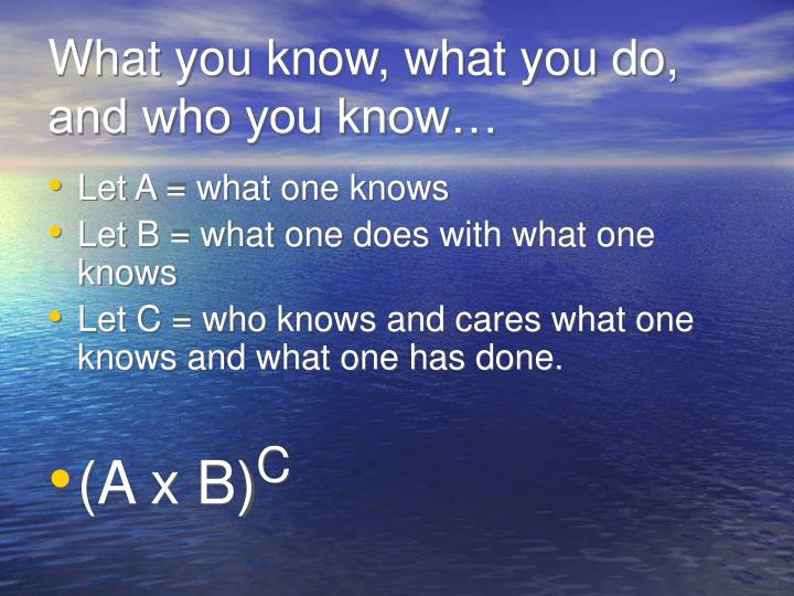 What you know, what you do, and who you know…