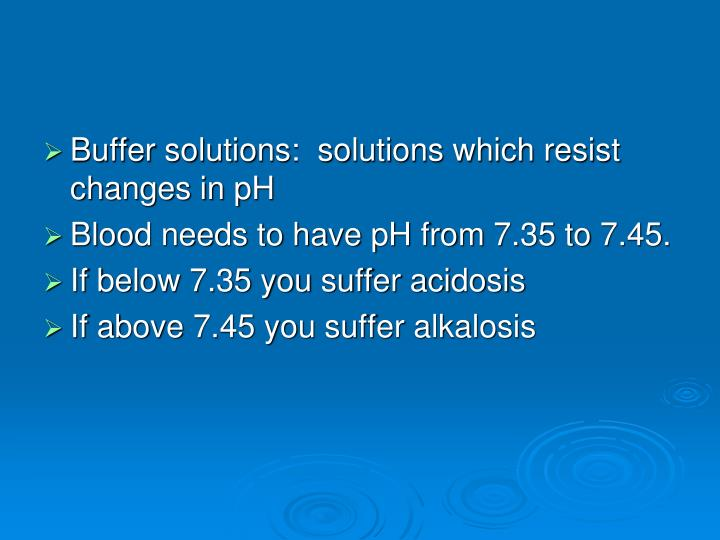 Buffer solutions:  solutions which resist changes in pH