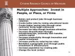 multiple approaches invest in people or place or firms