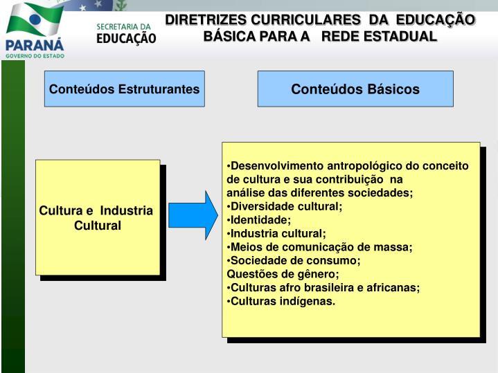 DIRETRIZES CURRICULARES  DA  EDUCAÇÃO BÁSICA PARA A   REDE ESTADUAL