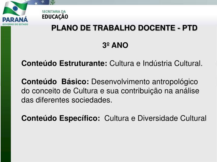 PLANO DE TRABALHO DOCENTE - PTD