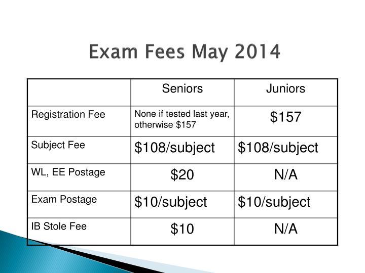 Exam Fees May