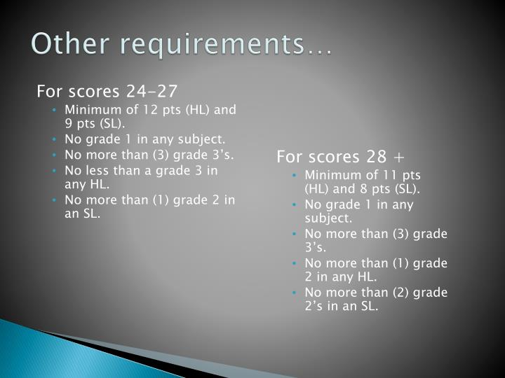 Other requirements…