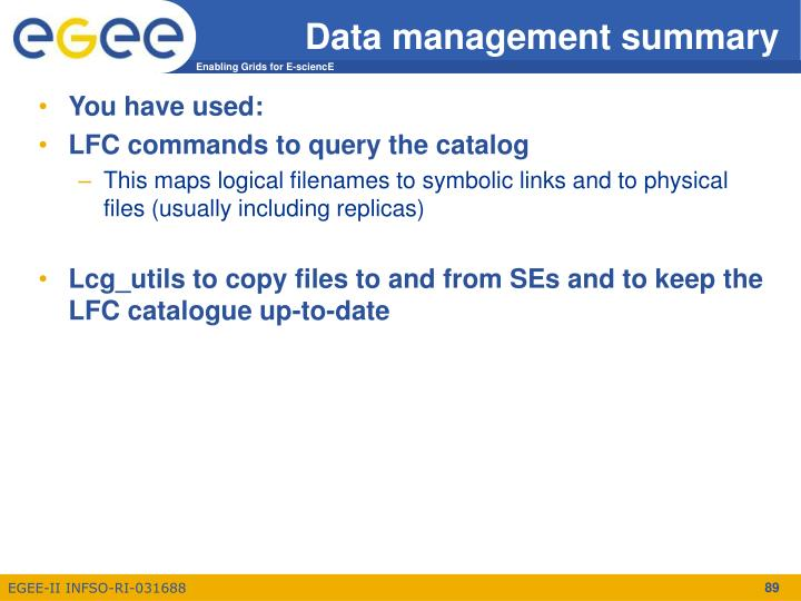 Data management summary