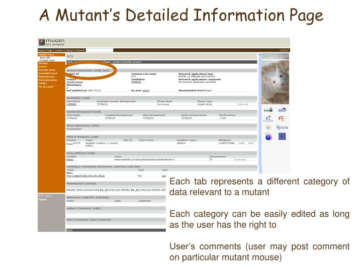 A Mutant's Detailed Information Page