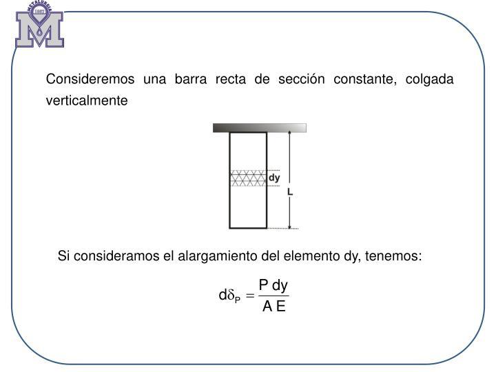 Consideremos una barra recta de sección constante, colgada verticalmente