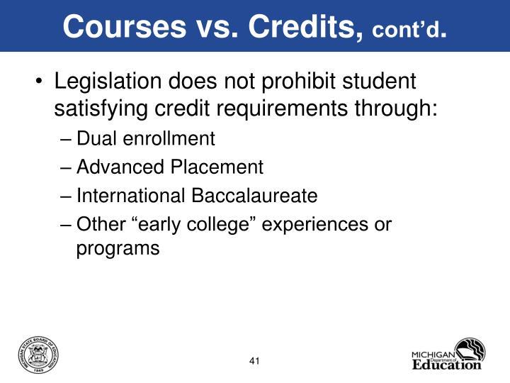 Courses vs. Credits,