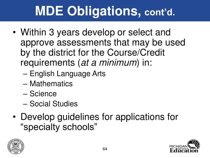 MDE Obligations,