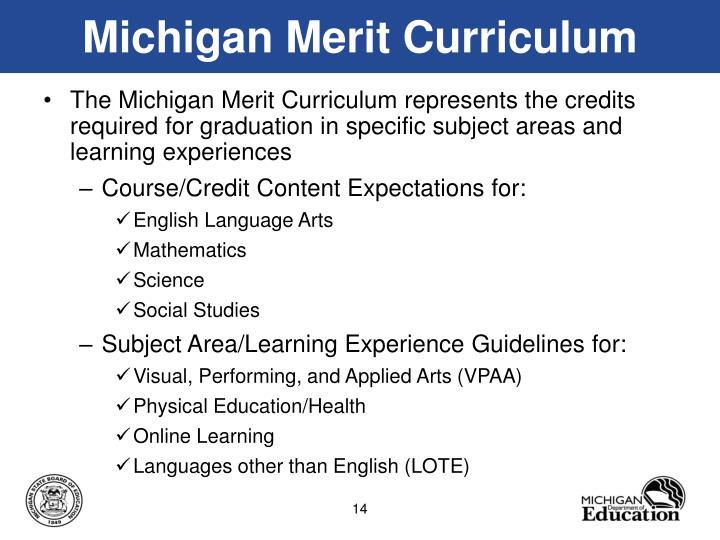 Michigan Merit Curriculum