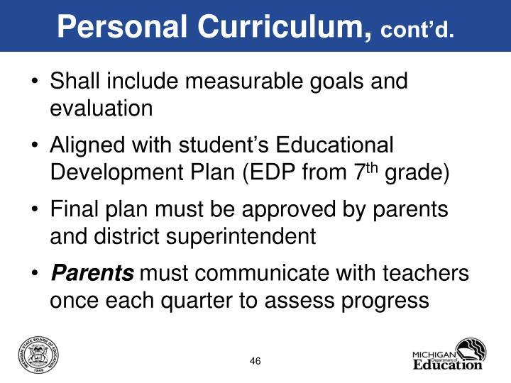 Personal Curriculum,