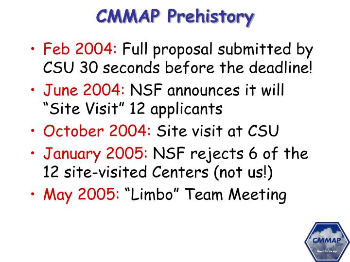 CMMAP Prehistory