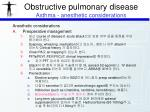 obstructive pulmonary disease asthma anesthetic considerations