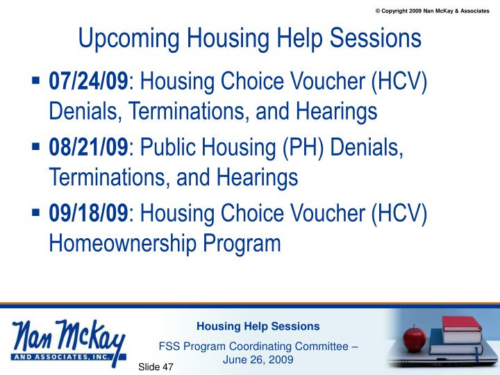 Upcoming Housing Help Sessions