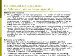 on indexical and occasioned on relevance and on consequentiality