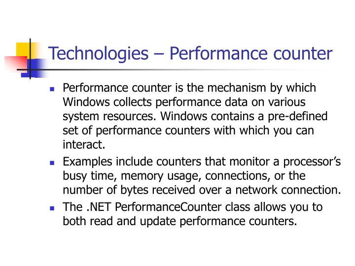 Technologies – Performance counter