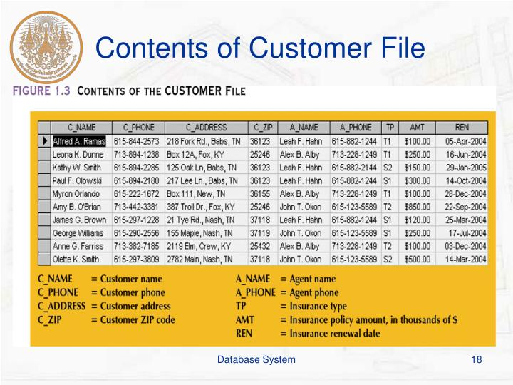 Contents of Customer File