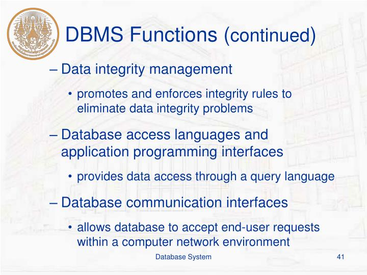 DBMS Functions (