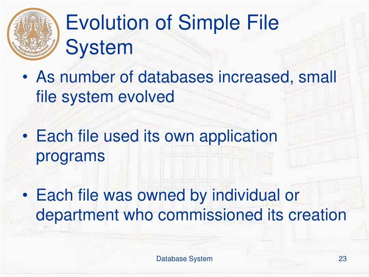 Evolution of Simple File System
