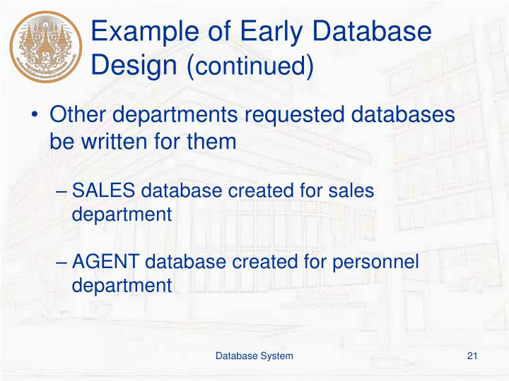 Example of Early Database Design (