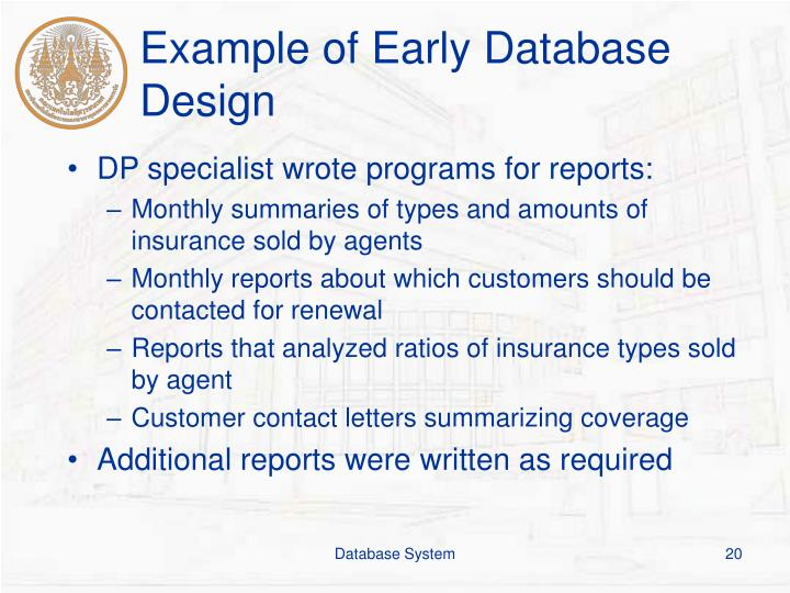 Example of Early Database Design