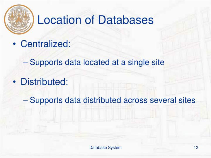 Location of Databases