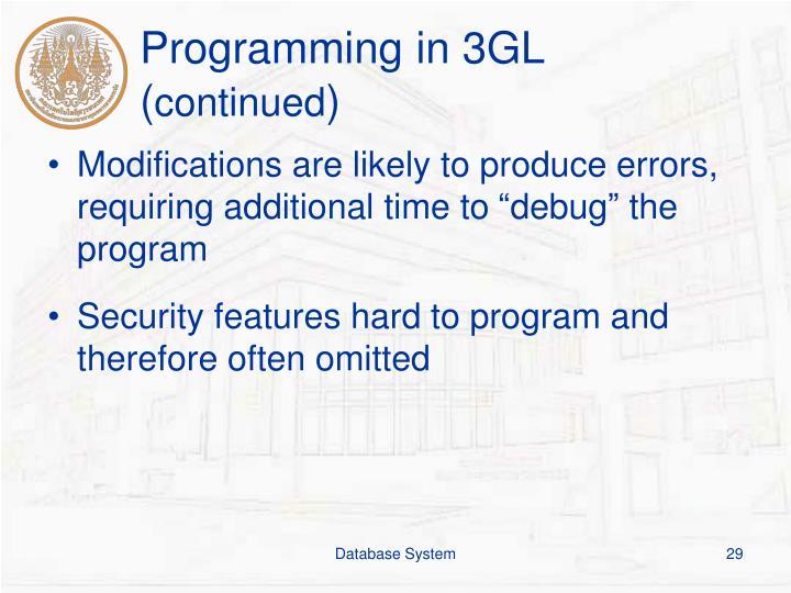 Programming in 3GL (
