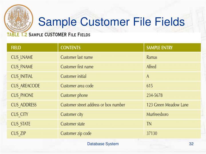 Sample Customer File Fields