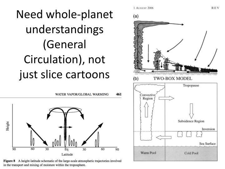 Need whole-planet understandings (General Circulation), not just slice cartoons