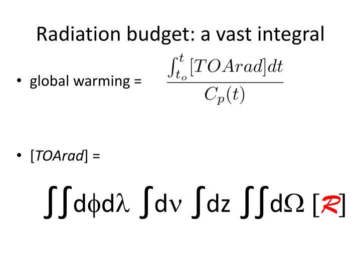 Radiation budget: a vast integral