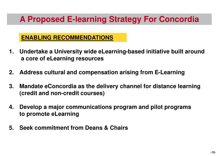 A Proposed E-learning Strategy For Concordia