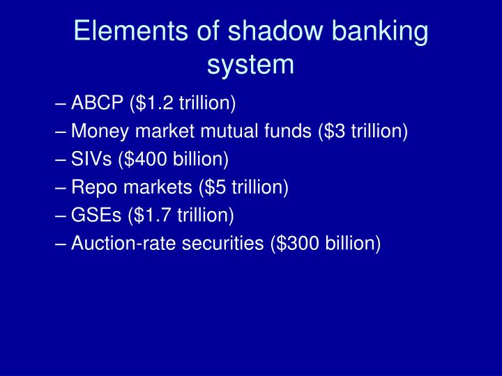 Elements of shadow banking system