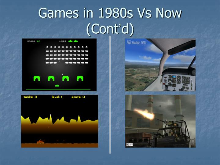 Games in 1980s Vs Now (Cont
