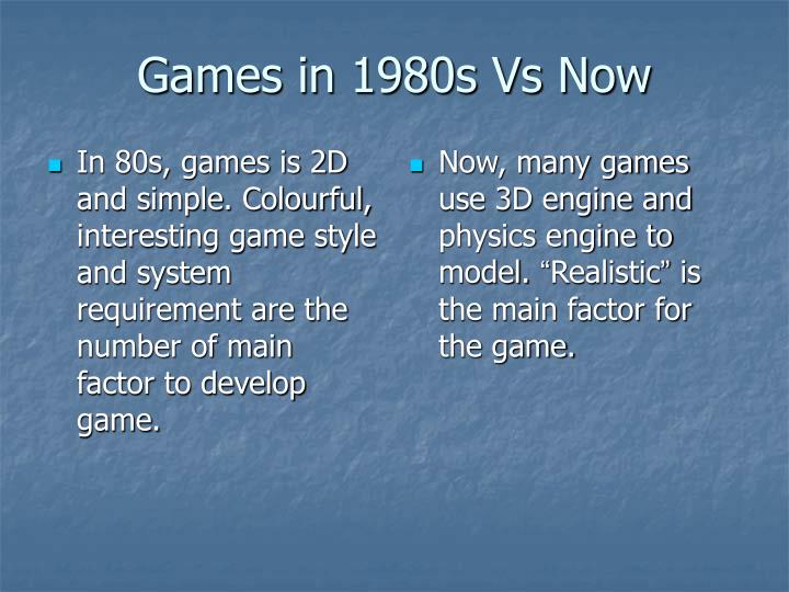 In 80s, games is 2D and simple. Colourful, interesting game style and system requirement are the number of main factor to develop game.