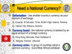 need a national currency